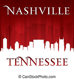 Nashville Tennessee city skyline silhouette red background -...