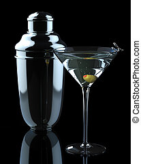 Martini with Olive and Shaker - Dramatic, clean shot of...