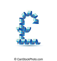British pound sign made of spiral ribbon - British pound...