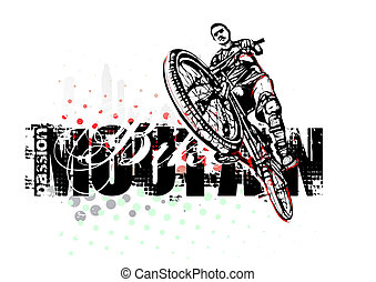 mountain bike illustration - jumping boy on mountain bike