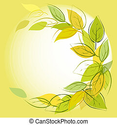 Vector green background with leaves