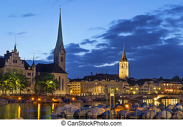 view of Fraumunster and st. Peter church, Zurich - Evening....