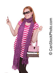woman in pink - one young twenties adult woman in pink and...