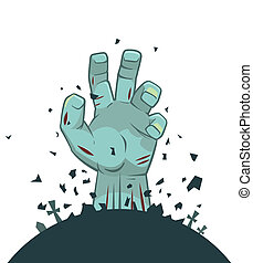 Vector zombie hand rising from the grave, isolated on white...