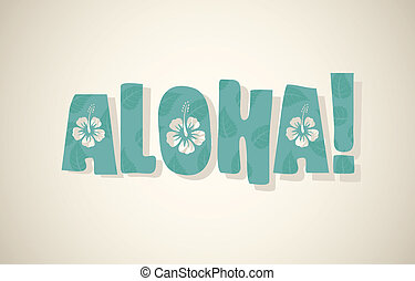 Vector aloha word in retro colors - Vector aloha word in...