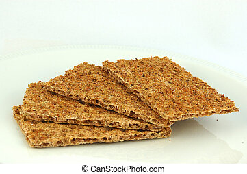 Crisp bread - Four slices of healthy brown delicious rye...