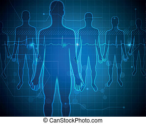 People silhouette blue background, medical technology...