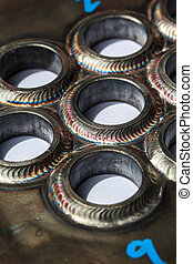 Pipe welding - Welding pipe small circles used in industrial...