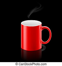 Red mug on black background - Red office mug with a small...