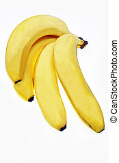 Four fresh bananas on white background
