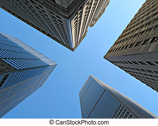 High Up - High view of skyscrapers in New York City with...