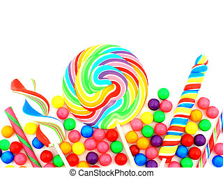 Candy border - Colorful assortment of candy forming a border...