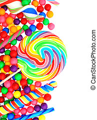 Candy border - Colorful vertical candy border with lollipops...
