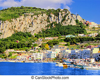 Capri harbor - View of Marina Grande, the harbor of Capri,...