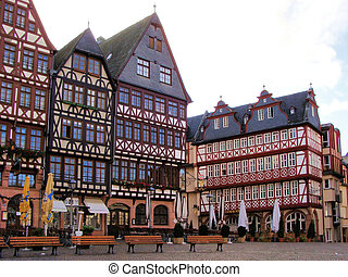 Romerburg square, Frankfurt - Half-timbered houses of...
