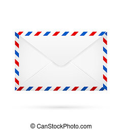 Covert - White closed envelope with red blue white perimeter