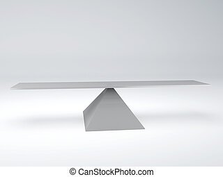 seesaw in equilibrium. Balance concept - image of white...