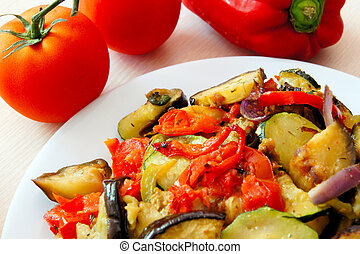 Plate of Ratatouille - Plate of warm mixed vegetable...