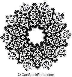 otomano, arabescos, desenho, série, F