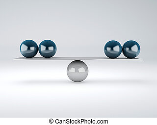 blue spheres  in equilibrium. Balance concept