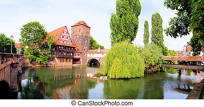 Nurnberg Old Town - Panoramic view of medieval riverside...
