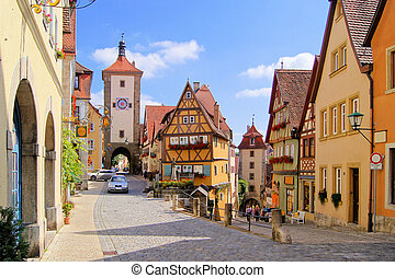 Medieval German village - Classic view of Rothenburg ob der...