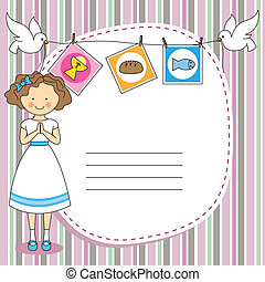 First Communion Invitation Card. Gi