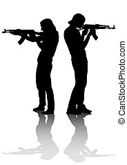 Couples whit gun - Soldier in uniform with gun on white...