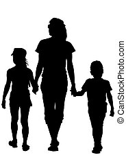 Mother and childrens - Silhouette of a mother and daughter...