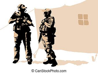 Soldiers in desert - Soldier in uniform with gun on white...