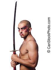 homem, espada, isolado, branca