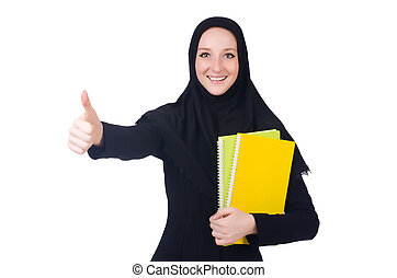 Arab student with books on white