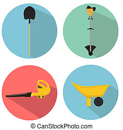 Gardening Tools - An image of a gardening tools icon set.