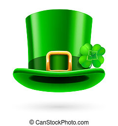 Green hat - Green tall hat in St. Patrick Day on a white...