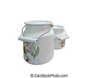 Enameled milk cans - Two enameled milk can with a handle,...