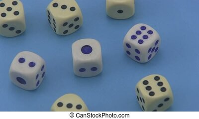 Dice on a blue background. - Dice that are used in board...