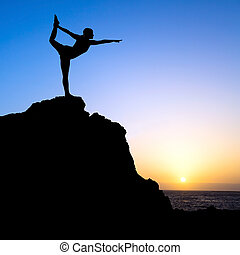 Woman exercise yoga silhouette - Young woman doing beautiful...