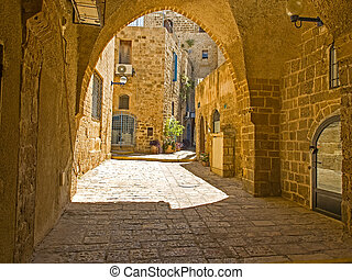 Old Jaffa street, Israel - Old street and old houses in...