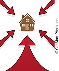 House Arrows Pointing - House with red arrows pointing