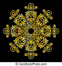 Pattern gold - Vector gold element similar a snowflake on...