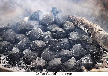 negro, carbón, Briquetas