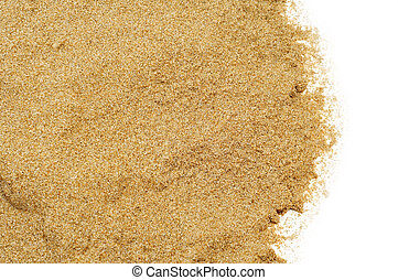 sand on a white background - closeup of a pile of sand of a...
