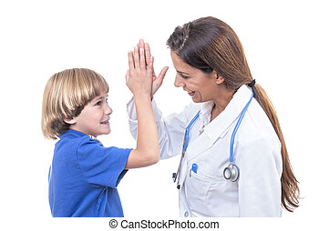 Healthy checkup - Pretty female physician gives high five to...