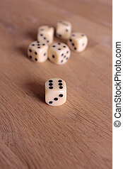 dice - six dices on a wooden table