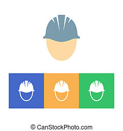 Hard hat - Colorful hard hat icons on white background