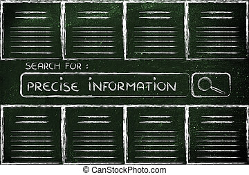 documents and search bar, looking for precise information