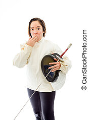 Female fencer hand over her mouth and shock