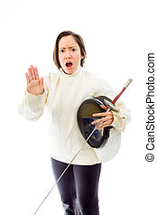 Female fencer making stop gesture sign