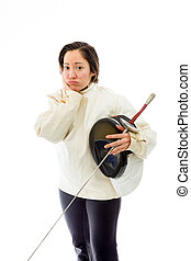 Female fencer looking sad with a holding mask and sword