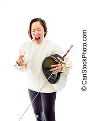 Female fencer looking frustrated